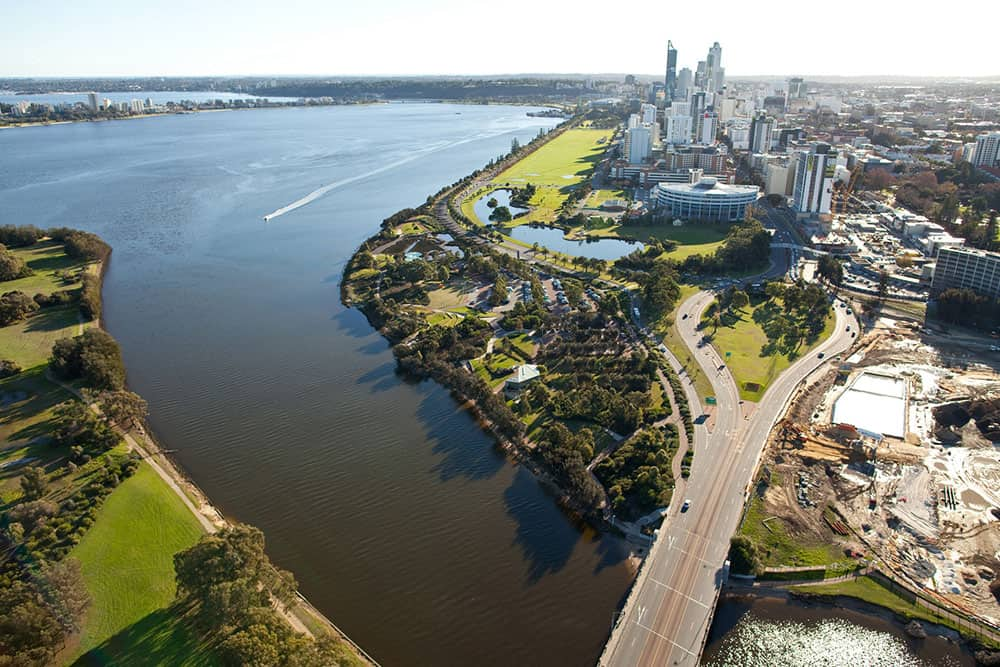 City of Perth from the air - first aid course near me in WA