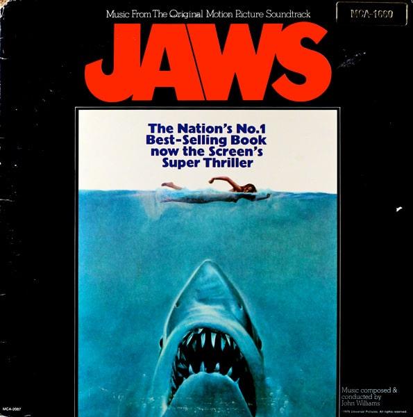 1975 movie Jaws soundtrack, vinyl recording album