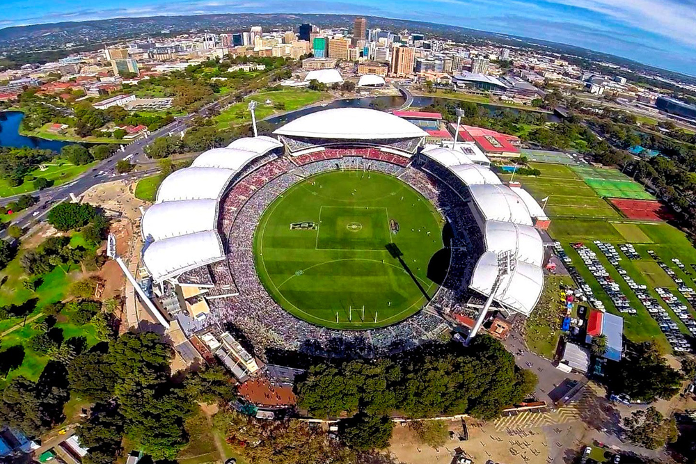 Adelaide Oval with City of Adelaide in the distance - aerial photo - first aid course near me in SA