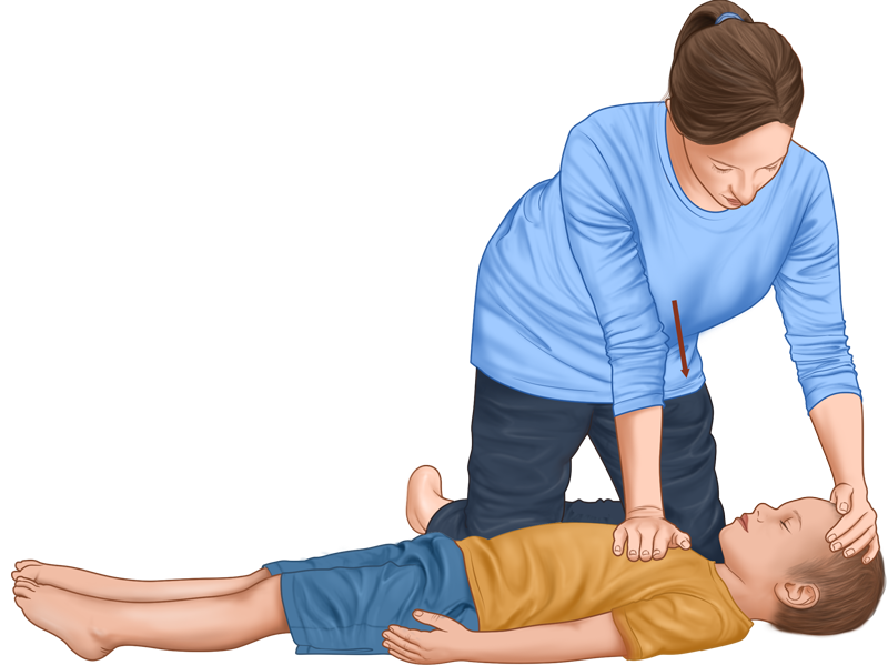 Child CPR guide - chest compressions body position