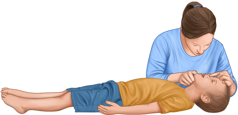 Child CPR guide - nose pinch, opening mouth