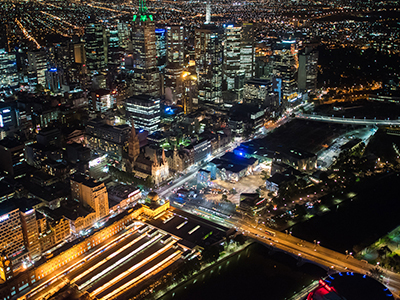 Melbourne and surrounding areas from above